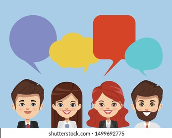 Brainstorming people concept in occupation. Business man and Business woman teamwork corporate. Illustration vector of people character.