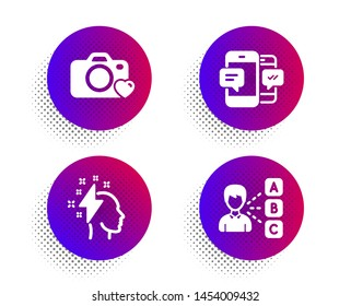 Brainstorming, Photo camera and Smartphone sms icons simple set. Halftone dots button. Opinion sign. Lightning bolt, Love photos, Mobile messages. Choose answer. Education set. Vector
