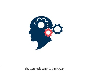 Brainstorming process concept. Thinking process and brain activity. Silhouette human head with gears. Strategic thinking and planning. Vector illustration.