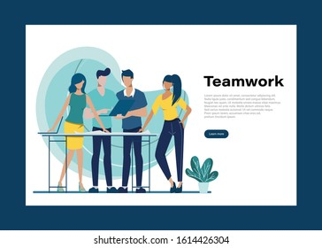 Brainstorming teamwork character. Business people teamwork office character. Animation for motion. Colleague seminar meeting. Co-working space office interior.