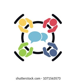 Brainstorming and teamwork icon. Business meeting. Group of four people in conference room sitting around a table working together on new creative projects. Flat vector design.