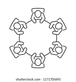 Brainstorming and teamwork icon. Business meeting. Group of six people in conference room sitting around a table working together on new creative projects. Line vector design.