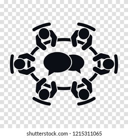 Brainstorming and teamwork icon. Business meeting . Group of six people in conference room sitting around a table working together on new creative projects. Flat vector design.