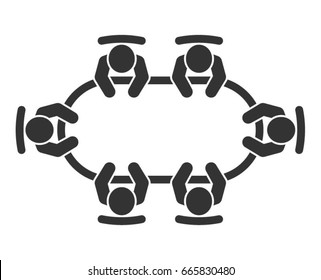 Brainstorming and teamwork icon. Business meeting. Group of six people in conference room sitting around a table working together on new creative projects. Flat vector design.