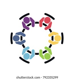 Brainstorming and teamwork icon. Business meeting. Group of six people sitting around a table working together on new creative projects. Flat vector design.