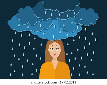 Brainstorming. A young woman and dark clouds above her head. Bad mood, depressive thoughts. Rain, bad weather. Ideas.