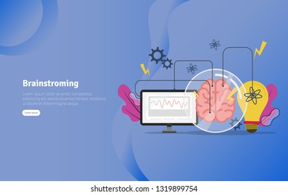 Brainstroming Concept Educational and Scientific Illustration Banner, Suitable For Wallpaper, Banner, Background, Card, Book Illustration or Web Landing Page