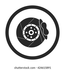 Brake disc with caliper  sign simple icon on  background