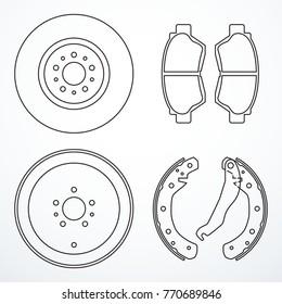 Brake disc, brake drum and brake pads. Brake parts icons