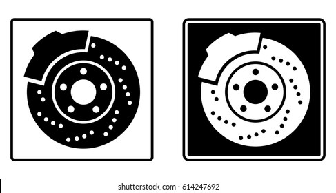 Brake discs. Car. Auto. Pads, brakes, car parts, car disc, car battery, rotor, shock absorber, caliper, tyre, spanner, disc pads. Sign. Icon