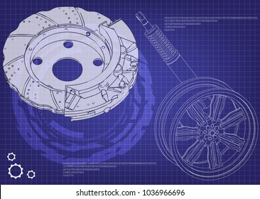 brake disk and wheel with shock absorber on a blue background. 3d model