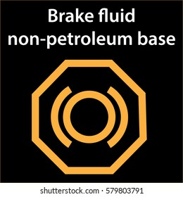 Brake fluid non petroleum base icon - vector illustration dashboard sign - orange - instrument cluster dtc code error - obd