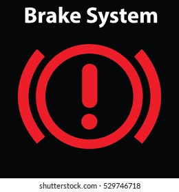 Brake light signal icon on the car panel. Dashboard warning signs. Attention icon.