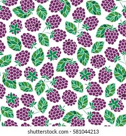 Bramble. Seamless pattern. Vector floral texture with forest berries. Hand drawn illustration with blackberry branches.