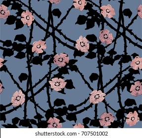 Brambles and briars with roses in night sky. Vector seamless pattern.
