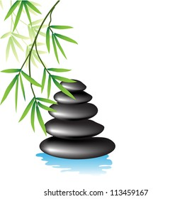 Branch of bamboo and rocks in the water.
