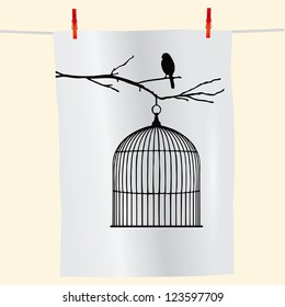 The branch with the bird and an empty cage on the fabric. Vector illustration.