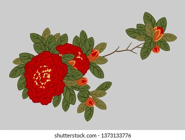 A branch of blooming red roses