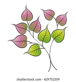 branch of bo leaf in green & pink-vector drawing