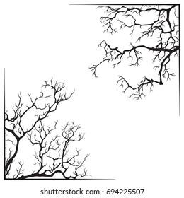 Branch borders halloween black and white print design vector illustration.