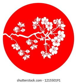 Branch of cherry blossom in red  japanese flag background