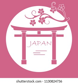 Branch of cherry blossoms and torii, ritual gates. Japan traditional design elements. Travel and leisure.