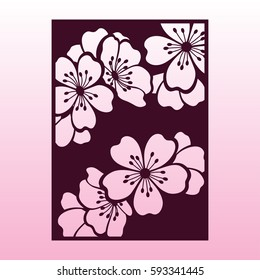 A branch of cherry or sakura blossoms. Laser cutting template suitable for greeting cards, invitations, covers, menus, interior decorations.