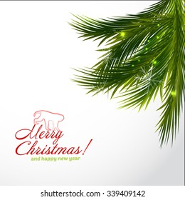 Branch of Christmas tree on white background. Vector illustration with decorations isolated on white background. Logo monkey