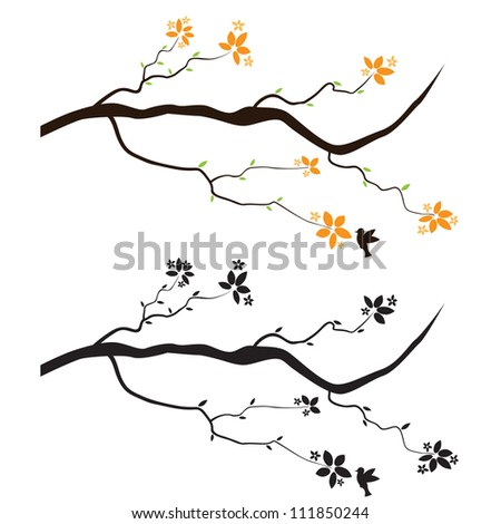 branch flowers wall decal stock vector (royalty free) 111850244