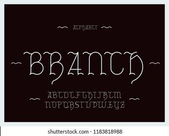 Branch font. Vector alphabet letters. Typeface design.