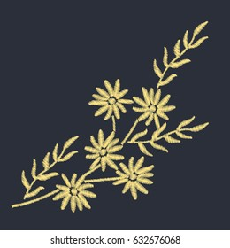 Branch with gold flowers embroidery design for clothing. Nature flowers embroidery patch vector decoration.