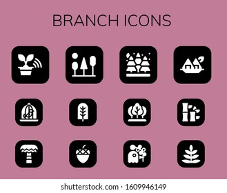 branch icon set. 12 filled branch icons. Included Tree, Dove, Palm tree, Trees, Acorn, Spruce, Pigeon, Seaweed, Bamboo, Fern icons