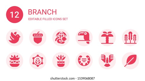 branch icon set. Collection of 12 filled branch icons included Dove, Acorn, Toucan, Palm tree, Botanical, Leaf, Fern, Laurel, Seaweed