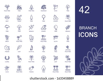 branch icons set. Collection of branch with palm tree, tree, pine tree, viburnum, dove, nest, trees, cherry, birch, sloth, pigeon, leaf, olive oil. Editable and scalable branch icons.