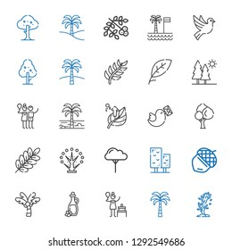 branch icons set. Collection of branch with tree, palm tree, birch, olive oil, acorn, pigeon, leaf, trees, dove, viburnum. Editable and scalable branch icons.