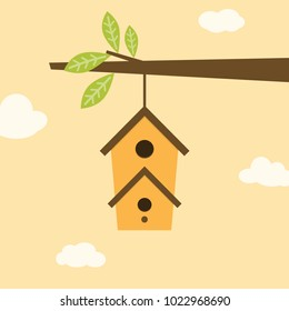 branch with leaves and birdhouse on beige background with clouds, bright banner with cute birdhouse