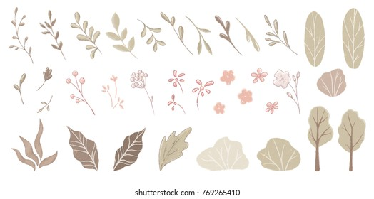 Branch, leaves, flovers, bushes, trees and hedges set. Hand drawn floral elements for design wedding template, invitation. Vector nature items  isolated on white. Cartoon  botanical illustration