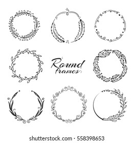 Branch with leaves, laurel wreath, floral circle frames for decoration. hand drawn vector collection. Frame of floral wreath, collection of laurel wreath with leaf illustration.