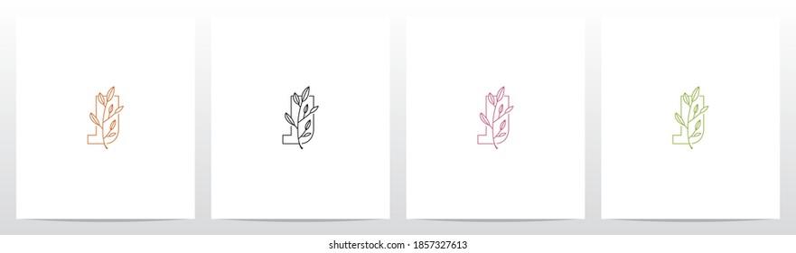 Branch With Leaves On Letter Logo Design J