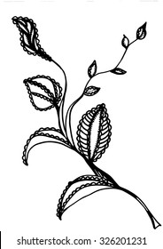 branch with leaves.spring.doodling.Zentangle floral pattern. Coloring book page for adults, joy to order children and adult colorist. Ink pen. Black and white background. Ink pen