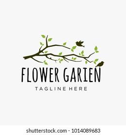 Branch logo design inspiration, garden logo design isolated on white background