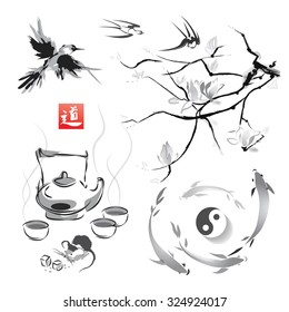 """The branch of magnolia in the traditional Japanese style of sumi-e, tea ceremony and swallows, Japanese carp and yin yang. Vector illustration. Hieroglyph """"way""""."""