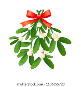 Branch of mistletoe with berries and red bow. A bouquet of Christmas.