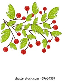 Branch with red fruits and green leaves. Spring vector painting