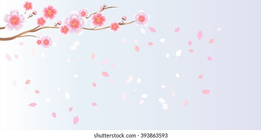 Branch of sakura with flowers. Cherry blossom branch with petals falling isolated on light-violet. Vector