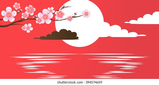 Branch of sakura with flowers on red. Cherry blossom branch against a decline. Sun setting on water. Vector