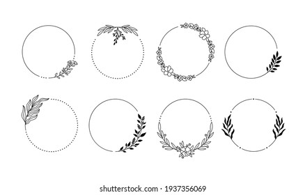 Branch wreath line frames. Laurel decorative elements. Award leaves silhouettes. Hand drawn decorative set in vector