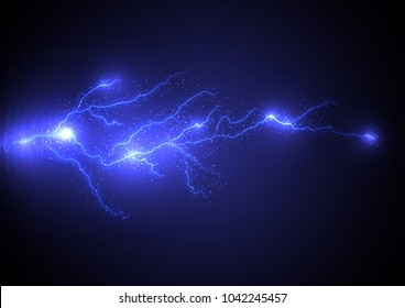 Branched lightning, the impact of light energy. Illustration Storm and storm. The strength of the elements. Static electricity