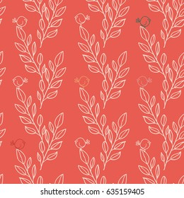 Branches and birds seamless pattern