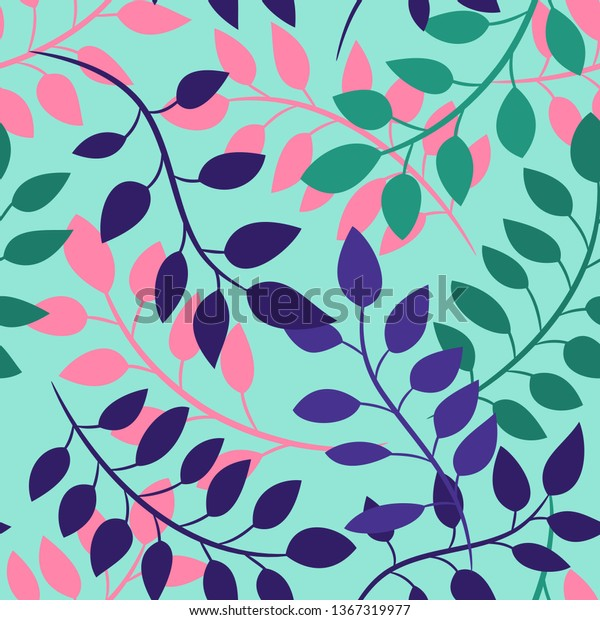 Branches Blue Pink Green Leaves Acacia Stock Vector Royalty